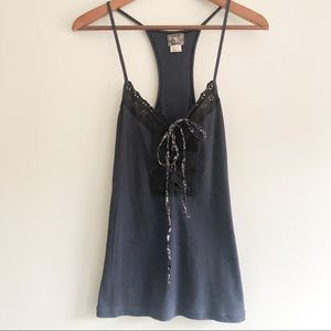 Free People Black and Navy Lace Tie Front Tank Top